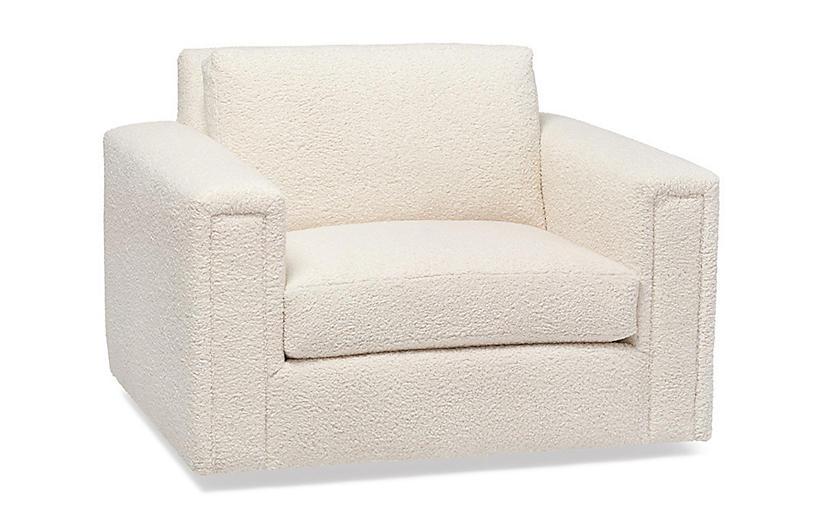 Heath Swivel Chair, Ivory