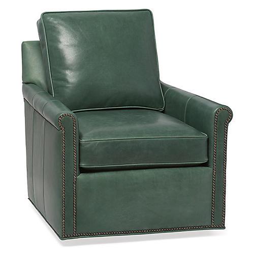 Finn Swivel Chair, Juniper Leather