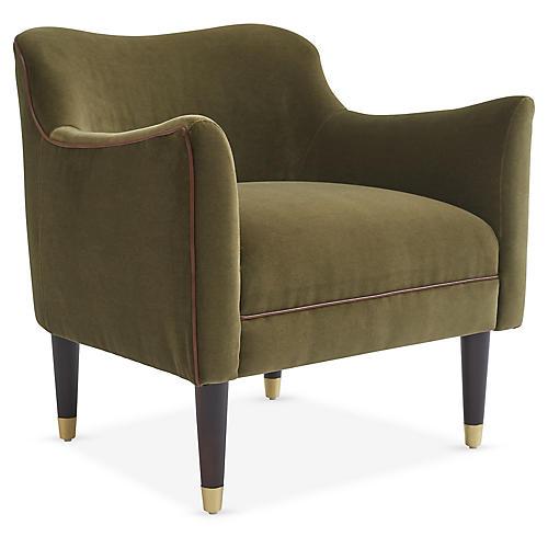 Alexander Accent Chair, Olive Velvet
