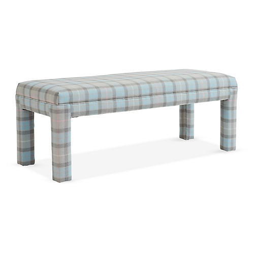 Brittany Bench, Sky/Pink Plaid