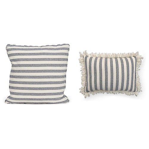 Elena Pillow Bundle, Blue/Cream Stripe