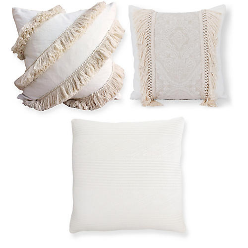 Riley Pillow Bundle, Ivory Fringe