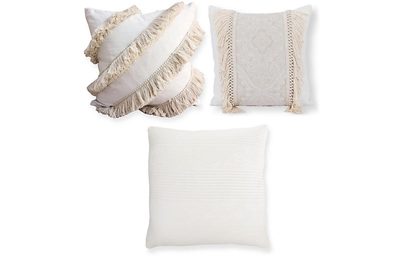 Riley Pillow Bundle, Ivory Fringe