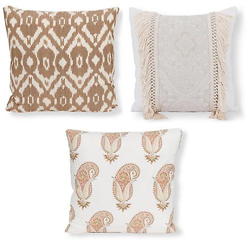 Ellie Pillow Bundle, Tan/Ivory