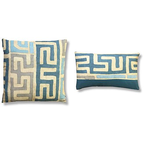 Rae Pillow Bundle, Cyan/Tan