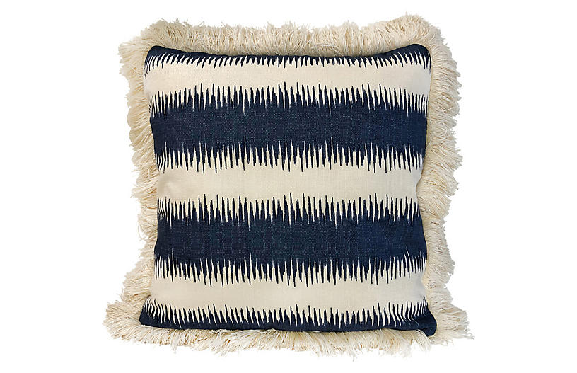 Cal 20x20 Fringed Pillow, Blue/Cream