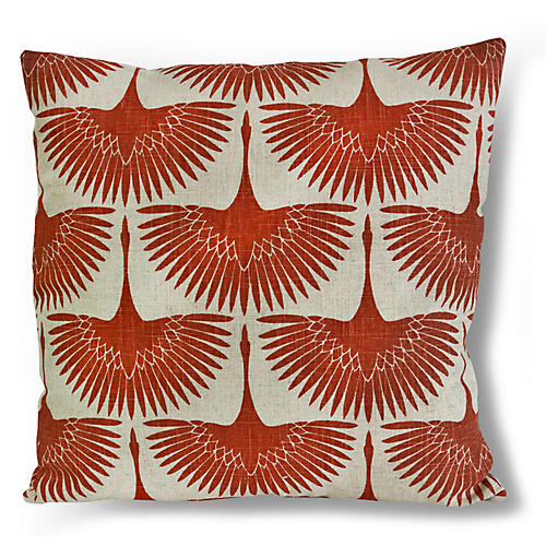 Anca Bird 20x20 Pillow, Burnt Orange