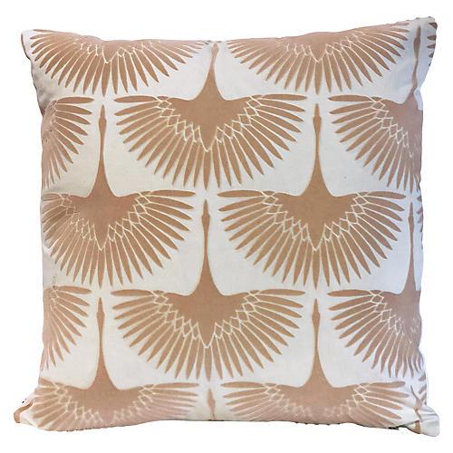 Anca Bird 20x20 Pillow, Blush Velvet