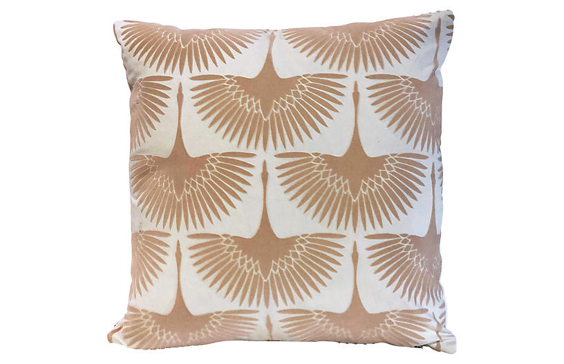 Anca Bird 20x20 Pillow, Blush Velvet
