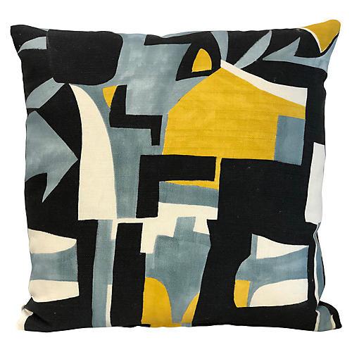 Pablo 20x20 Pillow, Light Blue/Yellow