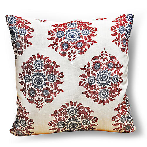 Flora 20x20 Pillow, Red/Blue