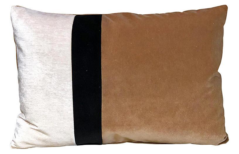 Elsa 14x20 Lumbar Pillow, Latte/Ivory Velvet
