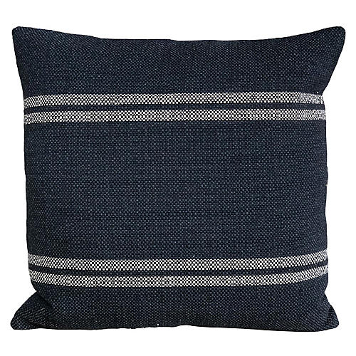 Sally 22x22 Pillow, Black/Ivory