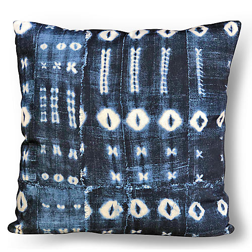 Zoya 22x22 Pillow, Indigo/Ivory