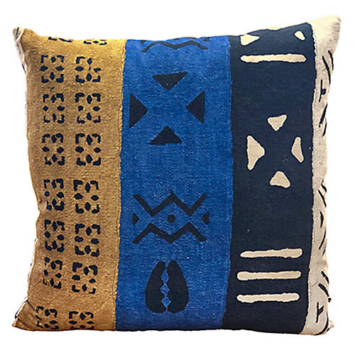 Patton 24x24 Pillow, Cobalt/Multi