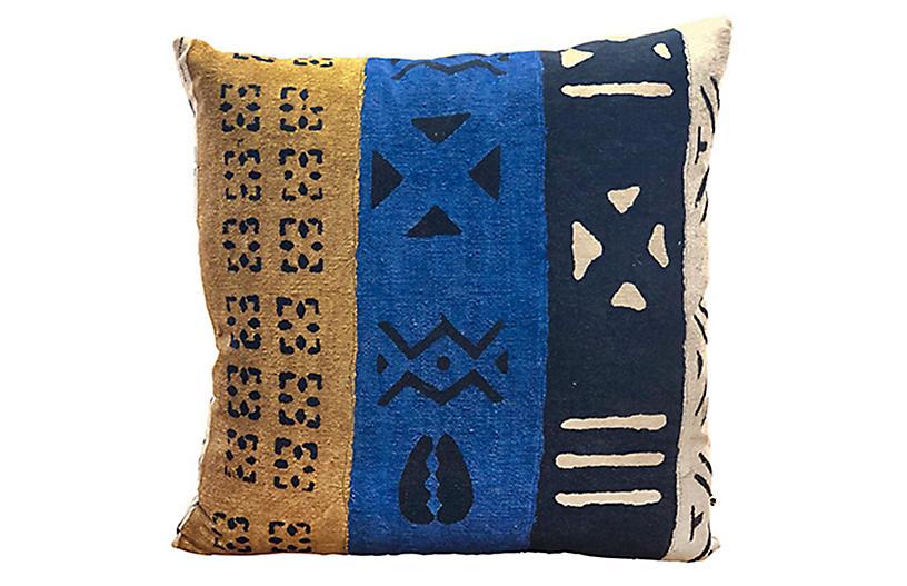 Patton 24x24 Pillow, Cobalt/Multi