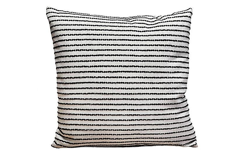 Miranda 22x22 Pillow, Black Stripe