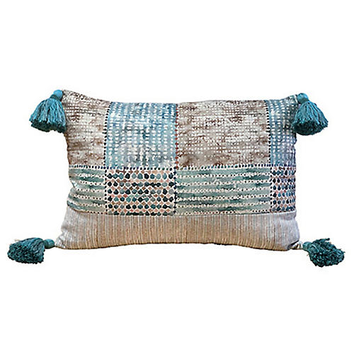 Veronica 14x20 Tassel Pillow, Aqua/Multi