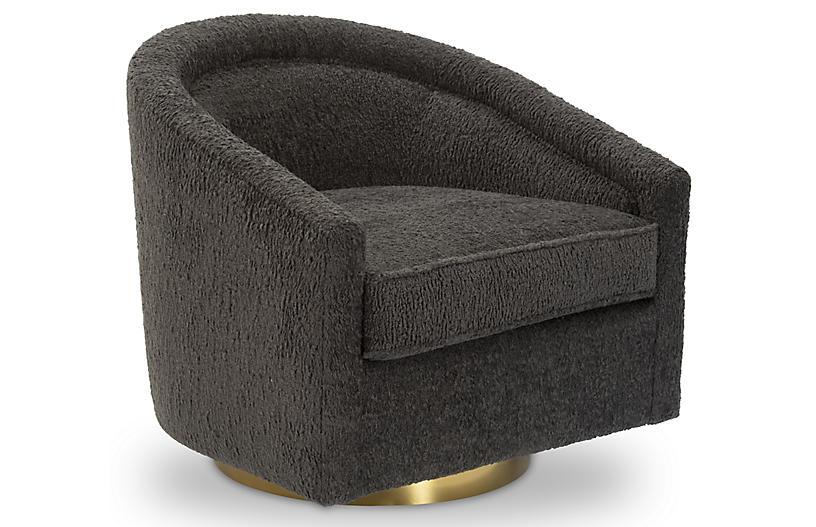 Benson Swivel Chair, Smoke Gray