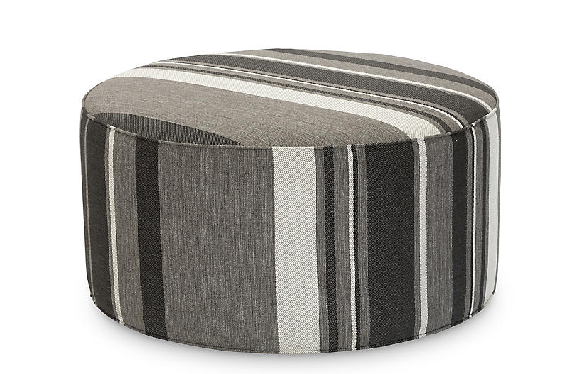 Peachy Devi Ottoman Grayscale Stripe Gmtry Best Dining Table And Chair Ideas Images Gmtryco