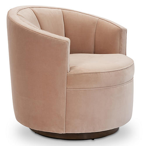 Jackie Swivel Club Chair, Blush Velvet