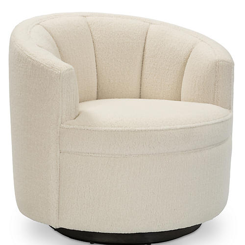 Jackie Swivel Club Chair, Cream