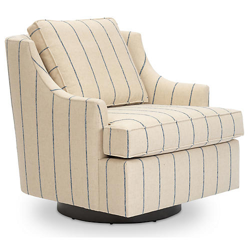 Palisades Swivel Chair, Ivory/Blue Stripe