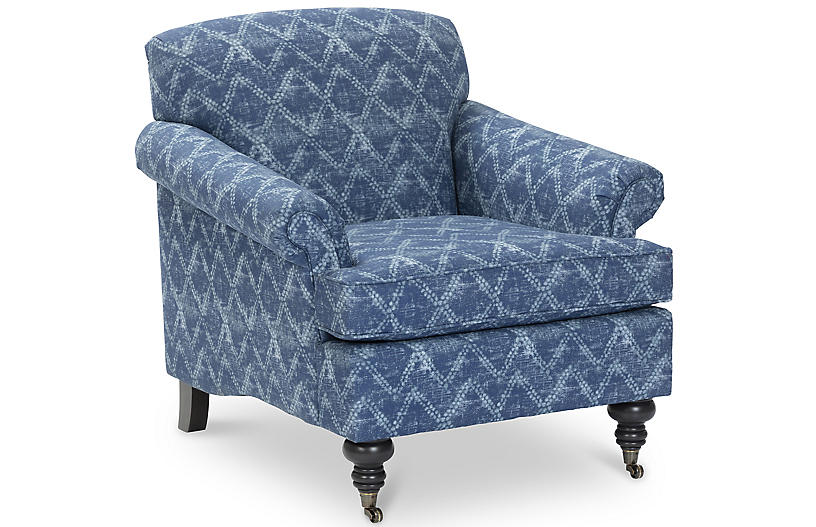 Joplin Club Chair, Washed Blue