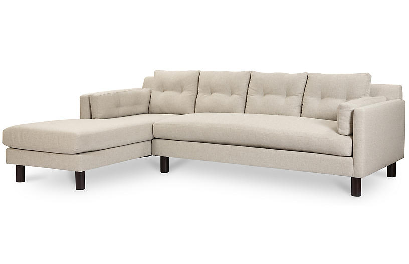 Marley Left-Facing Sectional, Light Gray