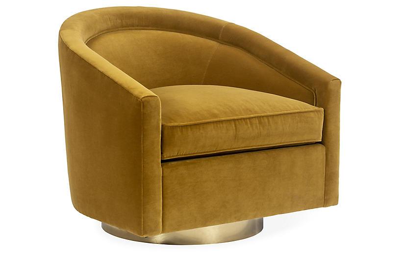 Benson Swivel Chair, Ochre Crypton Velvet