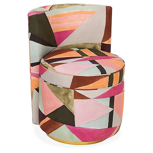 Jenna Swivel Chair, Pink/Multi
