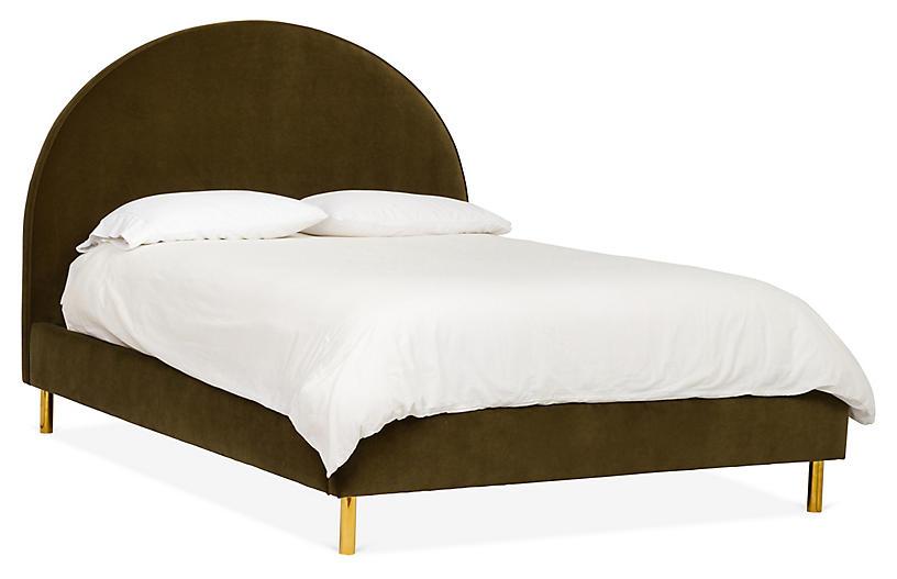 Queen Henley Bed, Olive Velvet