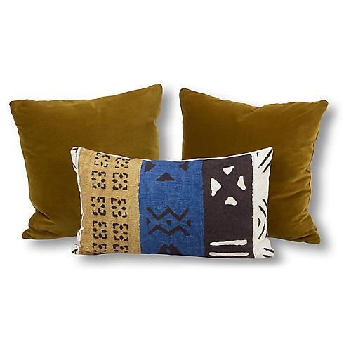 S/3 Lili Pillow Bundle, Yellow/Blue