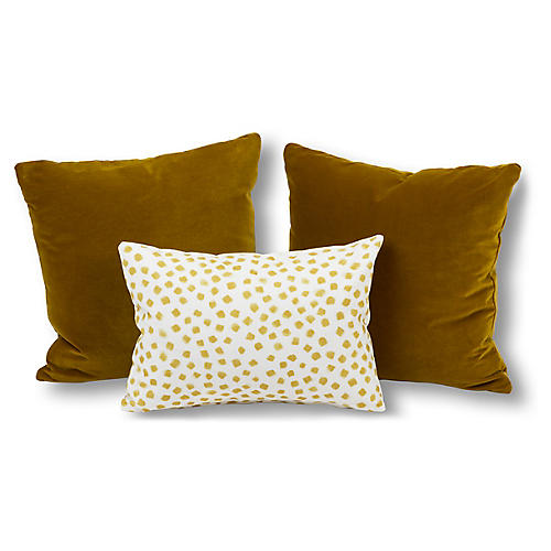S/3 Blake Pillow Bundle, Yellow/Ivory
