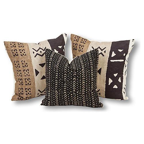 S/3 Laney Pillow Bundle, Brown/Black