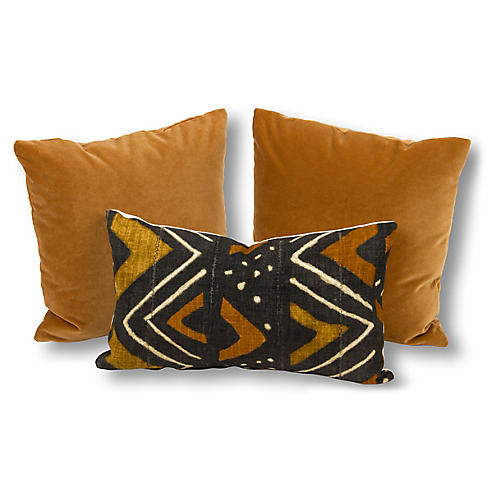 S/3 Maya Pillow Bundle, Brown/Black