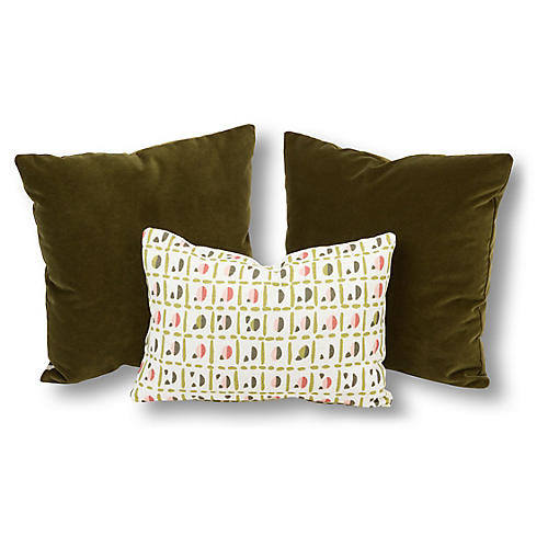 S/3 Eva Pillow Bundle, Olive/Blush