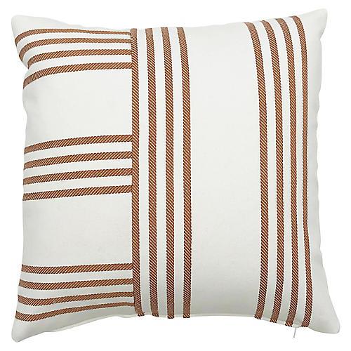 Further 20x20 Outdoor Pillow, Butterscotch/Ivory