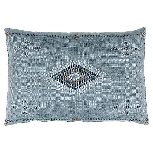 Sophia 14x20 Outdoor Pillow, Light Blue Sunbrella