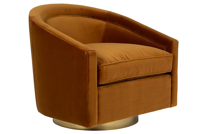 Benson Chair, Cognac Velvet