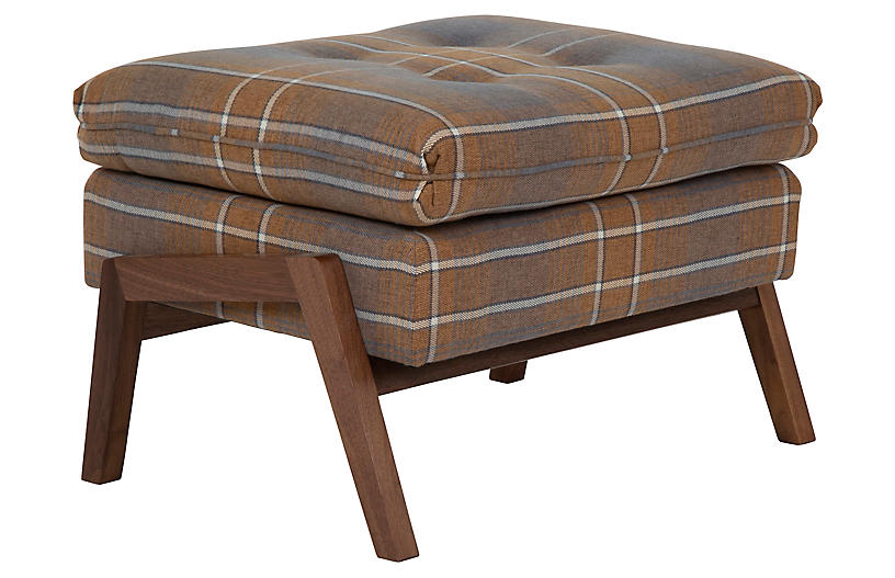 Grace Footstool, Gray Plaid/Ochre