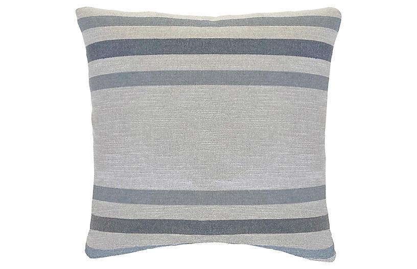 Jude 22x22 Pillow, Blue/Linen