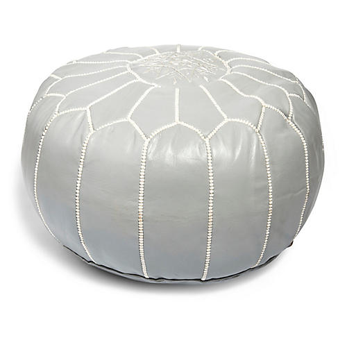 Moroccan Leather Pouf, Gray