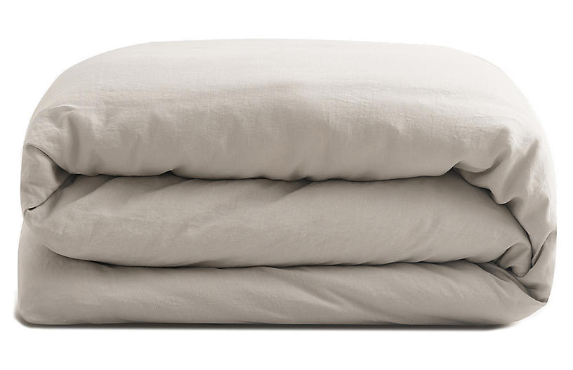 French Linen Duvet Cover, Fog