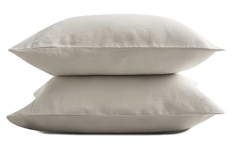 French Linen Pillowcase Set, Fog