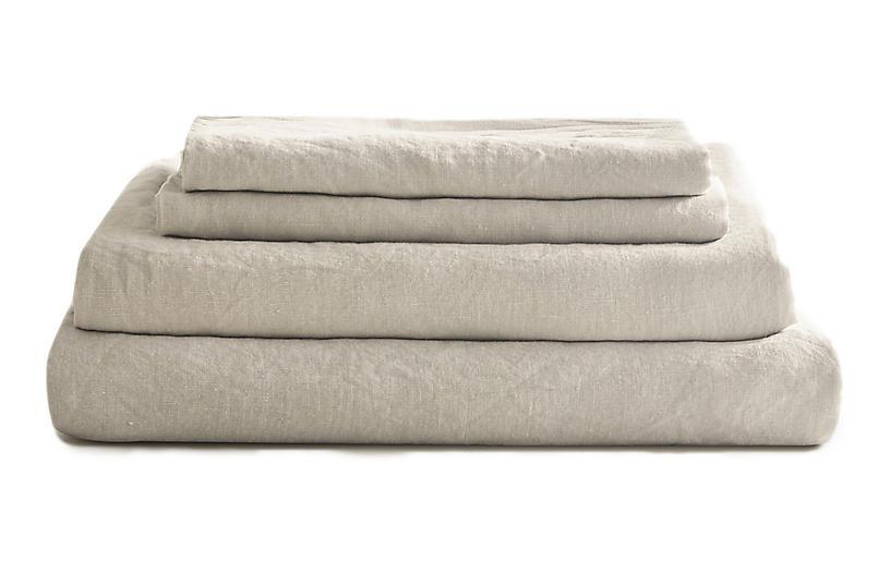 French Linen Sheet Set, Fog