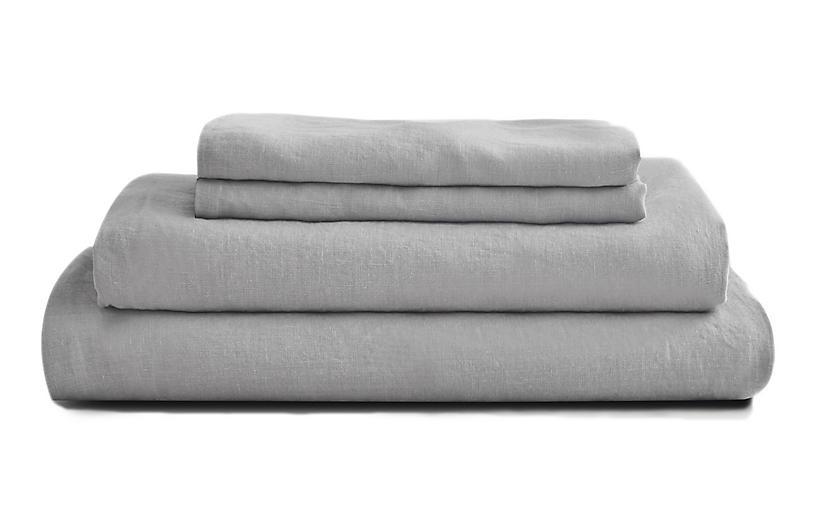 French Linen Sheet Set, Dove