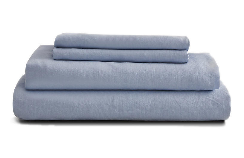 French Linen Sheet Set, Sky