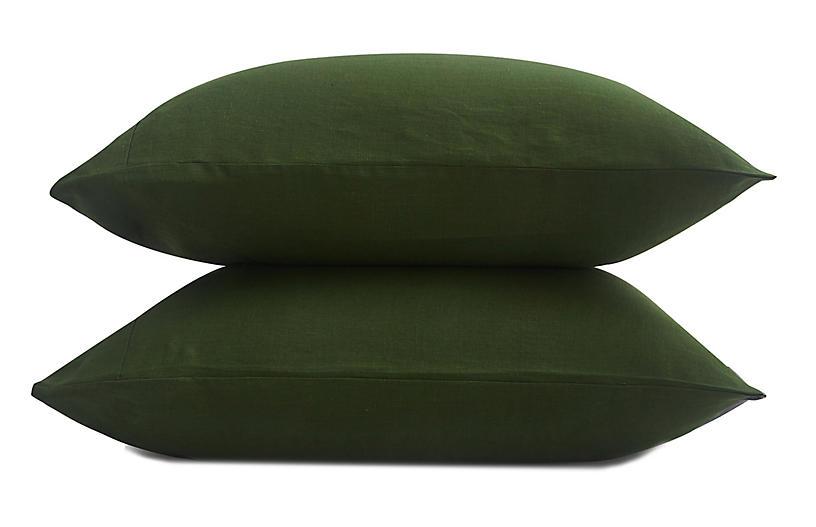 French Linen Pillowcase Set, Forest