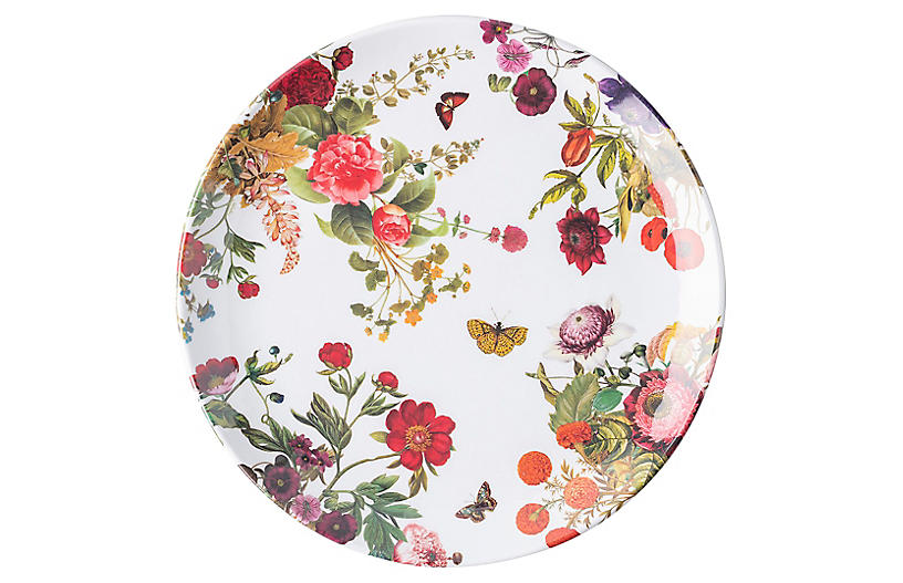 Field of Flowers Melamine Dinner Plate, White